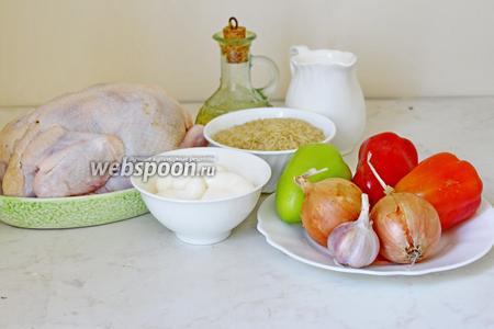 Приготовим все ингредиенты: цыплёнок, рис, молоко, майонез, овощи, масло оливковое, специи.