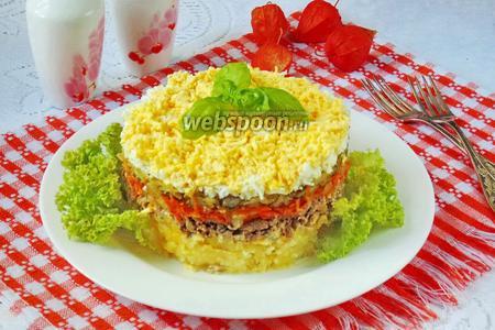 Салат с куриной печенью, картофелем и огурцами