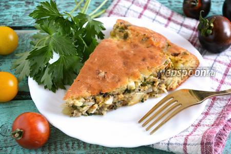 Кефирный пирог с сардинами, яйцом и зеленью