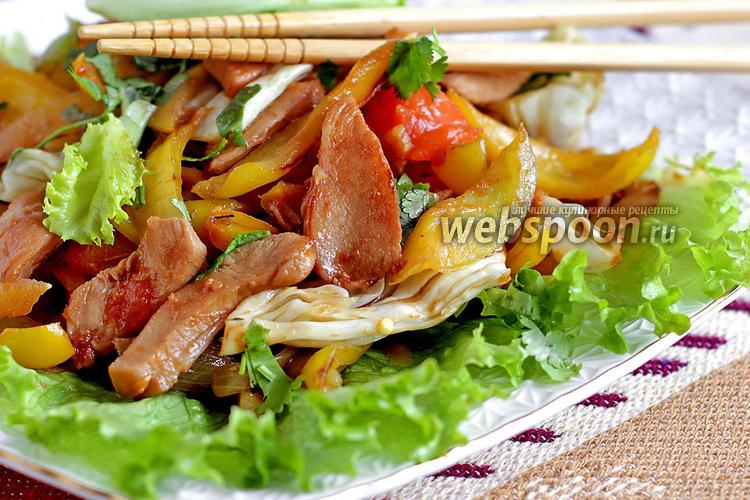 Фото Тёплый салат из куриного филе по-тайски
