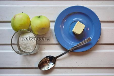 Готовим карамелизированные яблоки. Ингредиенты: яблоки, сахар, ром, масло сливочное.