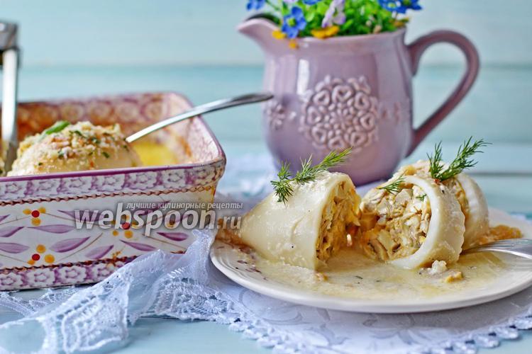 Фото Фаршированные кальмары с грибами и сыром