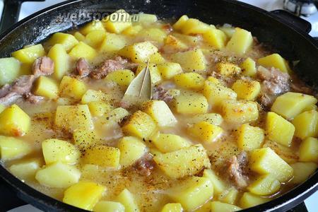 Огонь убавляем до минимума. Смотрим, какое количество жидкости дала нам тушёнка. На вид должна получиться картошка с бульоном. Мне, как правило, приходится добавлять немного воды. Солим по вкусу, добавляем любимые специи, накрываем крышкой и тушим до готовности картофеля. Всё зависит от сорта. Иногда достаточно и 15 минут, а иногда требуется и все 30.