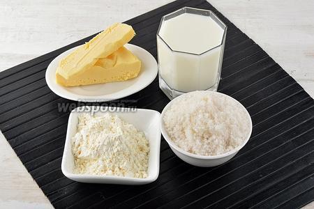 Пока печётся корж, приготовим крем. Для крема нам понадобится сливочное масло, сахар, молоко, сухой порошок пудинга.