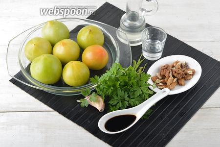 Для работы нам понадобятся зелёные помидоры, соевый соус, чеснок, уксус, петрушка, подсолнечное масло.