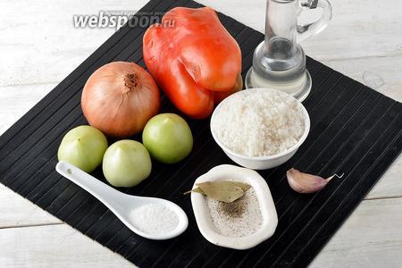 Для работы нам понадобятся зелёные помидоры, лук, сладкий перец, чеснок, сахар, соль, чёрный молотый перец, подсолнечное масло, лавровый лист.