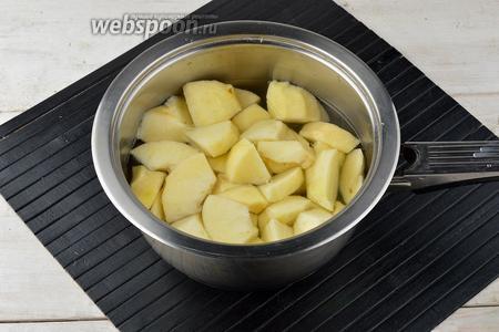 Яблоки (700 г) вымыть, очистить от кожуры и сердцевины. Нарезать яблоки кусочками, выложить в кастрюлю вместе с водой (1 стакан). Довести до кипения и варить под крышкой, на небольшом огне 15 минут.