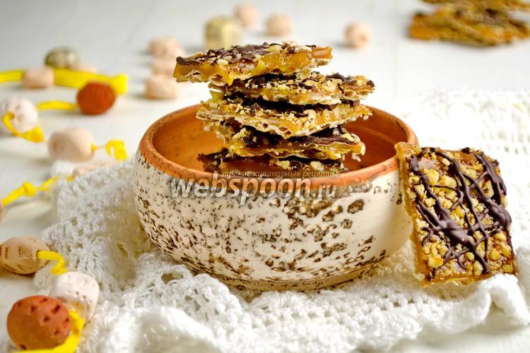 Фото Десерт из мацы с карамелью и орехами