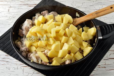 Добавить очищенный и нарезанный некрупными кубиками картофель (600 г). Перемешать и обжаривать 5 минут.