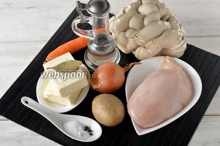 Для работы нам понадобятся вёшенки, куриное филе, картофель, репчатый лук, морковь, плавленый сыр, подсолнечное масло, соль, чёрный перец горошком, лавровый лист.