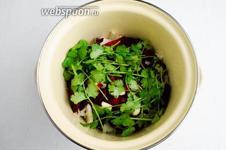 Кинзу (1 небольшой пучок) вымыть, просушить. Накрыть зеленью слои овощей.