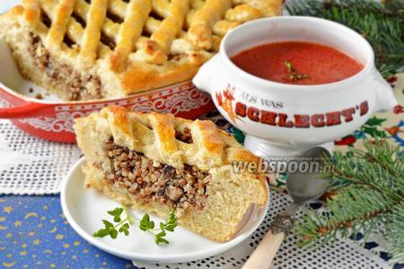 Пирог с гречкой и грибами