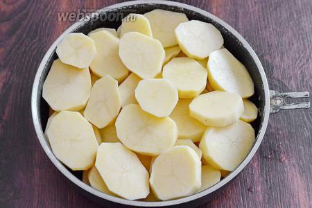 Картофель нарезаем кольцами средней толщины, затем укладываем в глубокую сковороду. Солим по вкусу. Ставим запекать в духовку на 20 минут при 180°С, на низ сковороды наливаем 0,5 стакана кипячёной воды.