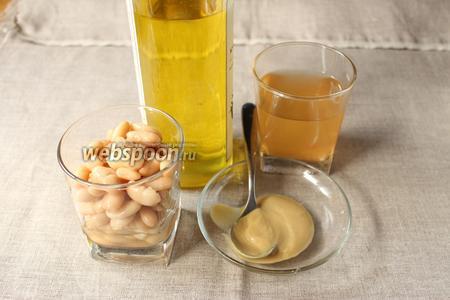 Для приготовления майонеза нам понадобится консервированная белая фасоль (или отварная), рассол, горчица, оливковое масло.