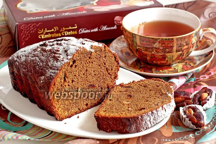 Фото Кофейный кекс с финиками и миндалём