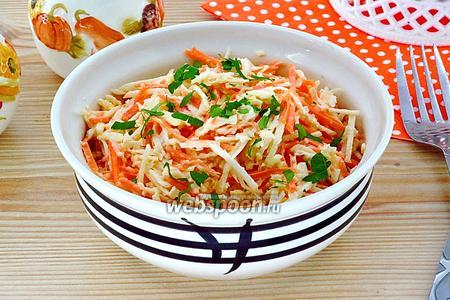 Салат из редьки, моркови и яблок с майонезом
