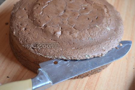 Выбрать корж из плёнки. Как обычно при выпекании на круглых коржах верх торта выходит выпуклый или горбатый. Надрезать верхушку коржа по кругу, мы её срежем. Верхушка оказалась для меня очень полезной, так как невозможно при выпекании торта, чтобы дети не услышали невероятного запаха от выпекания, да они даже запах глазури уже узнают.))) Смазала верхушку сгущённым молоком и дети отцепились.