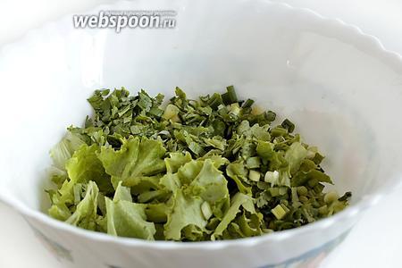 Листья салата вымыть и порвать руками, кинзу, лук, чеснок порубить и добавить всё в салатник.