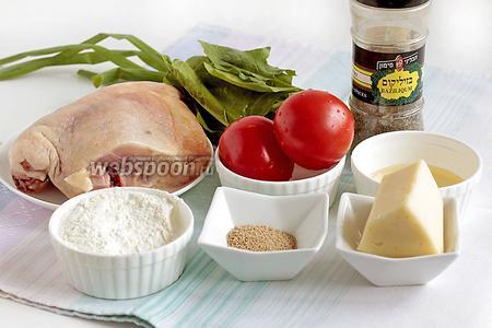 Для кальцоне с курицей я взяла куриное мясо (необязательно, чтобы это было филе), можно обрезать мясо с костей, получится ещё вкуснее и сочнее. Потребуется также зелёный лук, шпинат, помидоры, сыр,  специи. И для теста мука, вода, дрожжи, растительное масло, соль