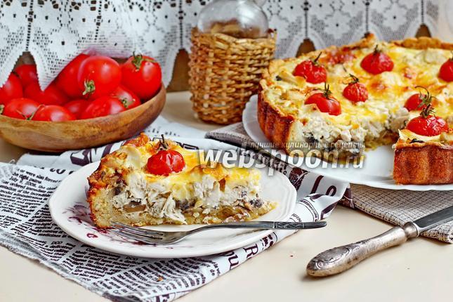 Фото Киш с курицей и грибами