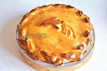 Даём пирогу отдохнуть после духовки, а затем можно подавать. Очень вкусный как в тёплом, так и в холодном виде.