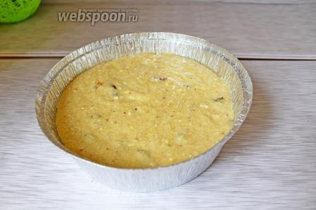 Выложить в форму и выпекать в заранее разогретой духовке (160-170°С) 1 час, затем накрыть форму  фольгой и выпекать ещё 30 минут.