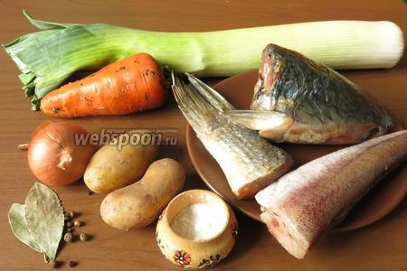 Ингредиенты для ухи: пеленгас (голова, хвост, плавники, тушки трески без головы, лук, морковь (1/2), лук-порей, картофель, соль, перец, лавровый лист, водка, корень петрушки.