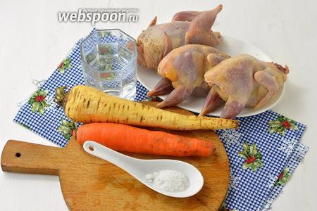 Для работы нам понадобятся перепела, вода, соль, морковь, пастернак, лук.