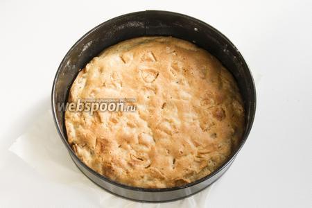 Выложите тесто в форму, дно которой застелено пергаментной бумагой, смазанную маслом (10 мл) и припорошенную мукой. Выпекайте при 180°С около 40 минут.