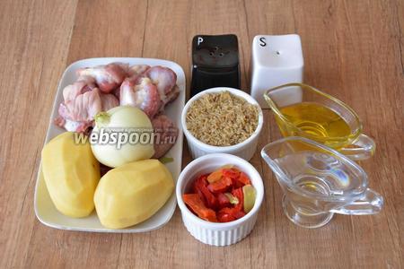 Для приготовления необходимы куриные желудки, репчатый лук, болгарский перец замороженный, картофель, вода, вермишель, масло подсолнечное, соль, перец чёрный молотый.