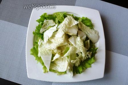 Листья зеленого салата порвем на крупные кусочки, а листья пекинской капусты нарежем на крупные треугольники. Смешаем вместе и разложим на тарелку, натёртую чесноком.