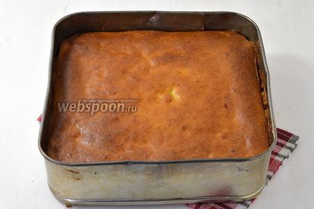 Готовить пирог в предварительно разогретой до 180°С духовке 50-55 минут. Через 20 минут прикрыть пирог сверху пекарской бумагой, чтобы он не слишком румянился.