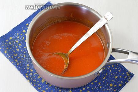 Нагреть массу, помешивая, до полного растворения сахара и желатина (до кипения не доводить). Охладить.