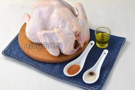 Для работы нам понадобится курица, соль, перец, подсолнечное масло, приправа для курицы.