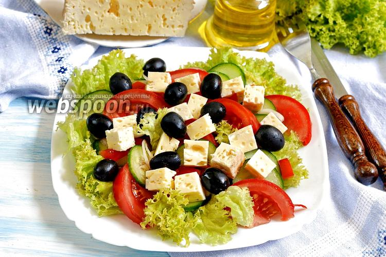 Фото Греческий салат с брынзой
