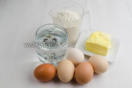 Теперь приготовим тесто для профитролей. Для теста нужно взять: воду, масло сливочное, муку, соль, яйца.
