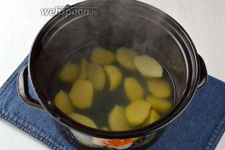 Картофель (4 штуки) очистить, порезать и выложить в кастрюлю с кипящей водой. Приправить солью и варить под крышкой до готовности картофеля.