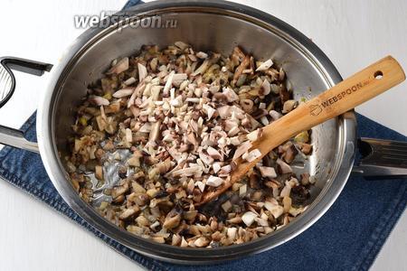Добавить очищенные и порезанные шампиньоны (300 г) и пассеровать ещё 10 минут.