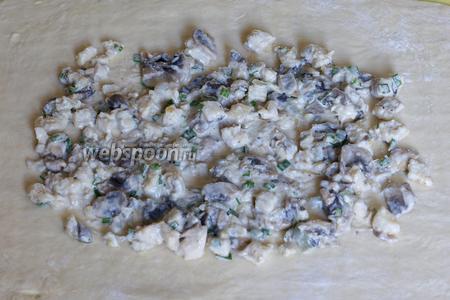 Готовое тесто раскатываем в овальный пласт толщиной 0,3 см. Выкладываем начинку.