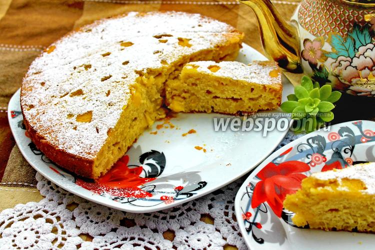 Фото Итальянский пирог с яблоками и персиками