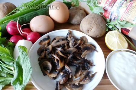 Для окрошки понадобятся огурцы, редис, картофель, яйца, обжаренные шампиньоны, сметана, репчатый лук хлебный окрошечный квас, сок лимона, зелень укропа и петрушки, зелёный лук, огуречная трава (бораго по-научному), мята, соль, сахар и чёрный перец. Яйца и картофель сварим и охладим.
