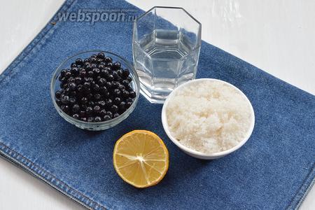 Для работы нам понадобится черника, сахар, вода, лимон.