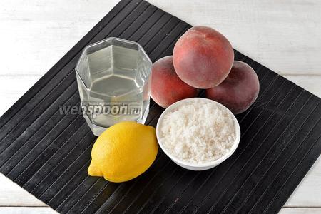 Чтобы приготовить персиковый лимонад, нам понадобятся персики, вода, лимон, сахар.