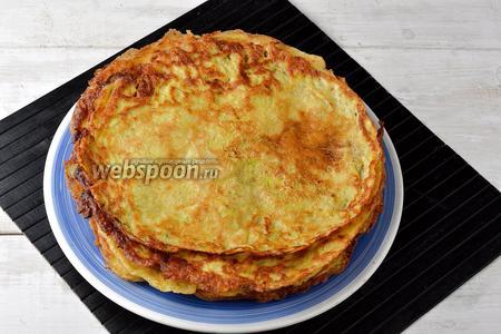 В зависимости от диаметра сковороды, у вас получится 6-8 коржей.