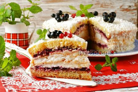 Торт с безе и бисквитом