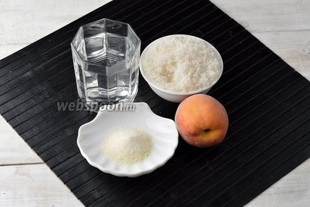 Для работы нам понадобятся персики, вода, сахар, желатин.