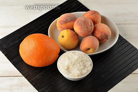 Для работы нам понадобятся персики, апельсин, сахар.