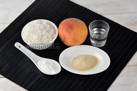 Для работы нам понадобятся спелые и ароматные персики, сахар, кукурузный крахмал, вода, желатин.