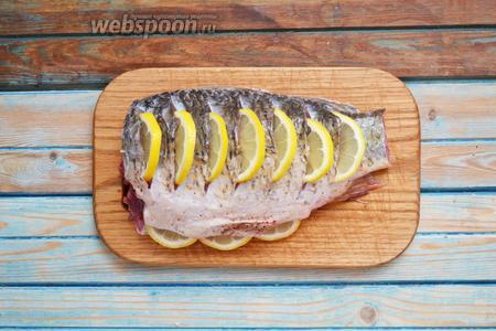 Карася (1300 г) очистить от чешуи, удалить внутренности, отрезать хвост и голову. Хорошо вымыть, убрать салфетками лишнюю влагу. Посолить (5 г), поперчить (5 г) снаружи и внутри. Сделать косые надрезы, вставить в них кусочки тонко нарезанного 1 лимона. Пару ломтиков выложить в брюшко.