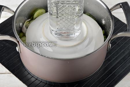 Сверху положить тарелку и поставить небольшой гнёт. Оставить на 3-4 часа.